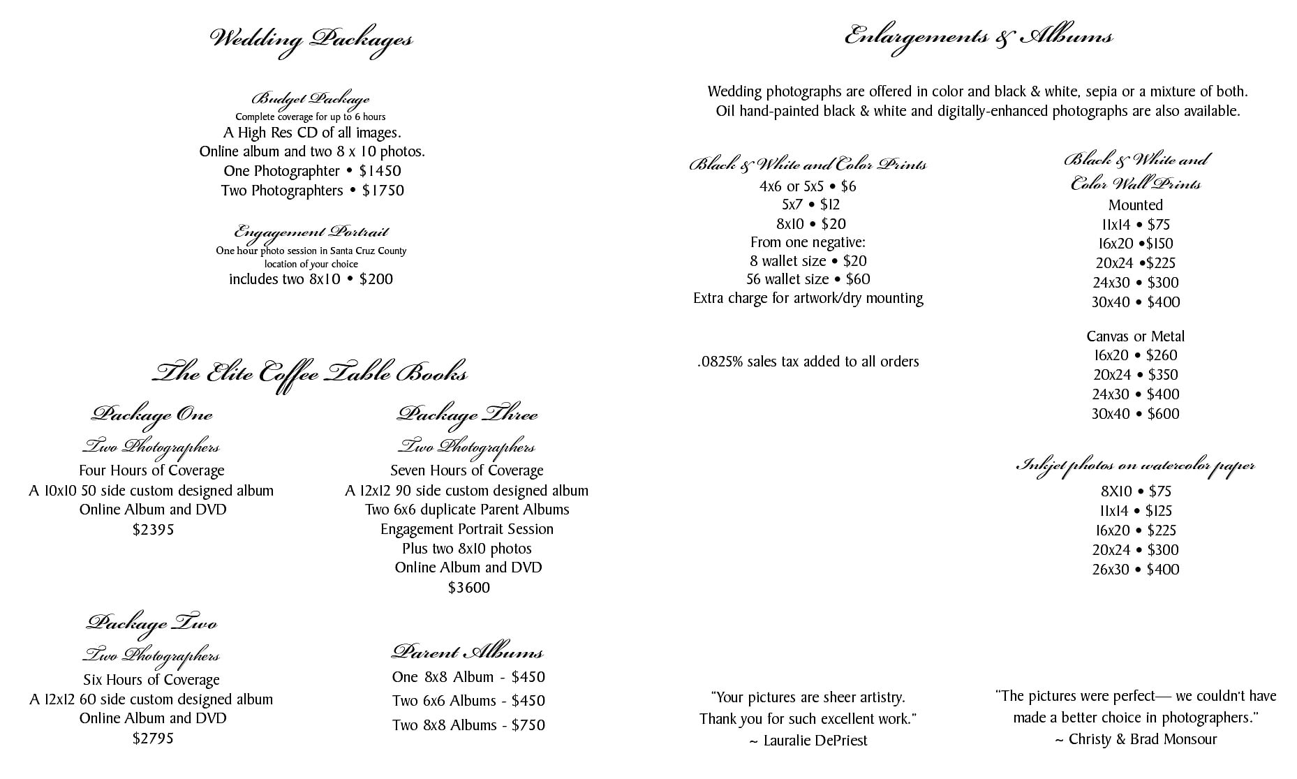 Susan Helgeson Wedding Photography Packages And Pricing Menu Pdf