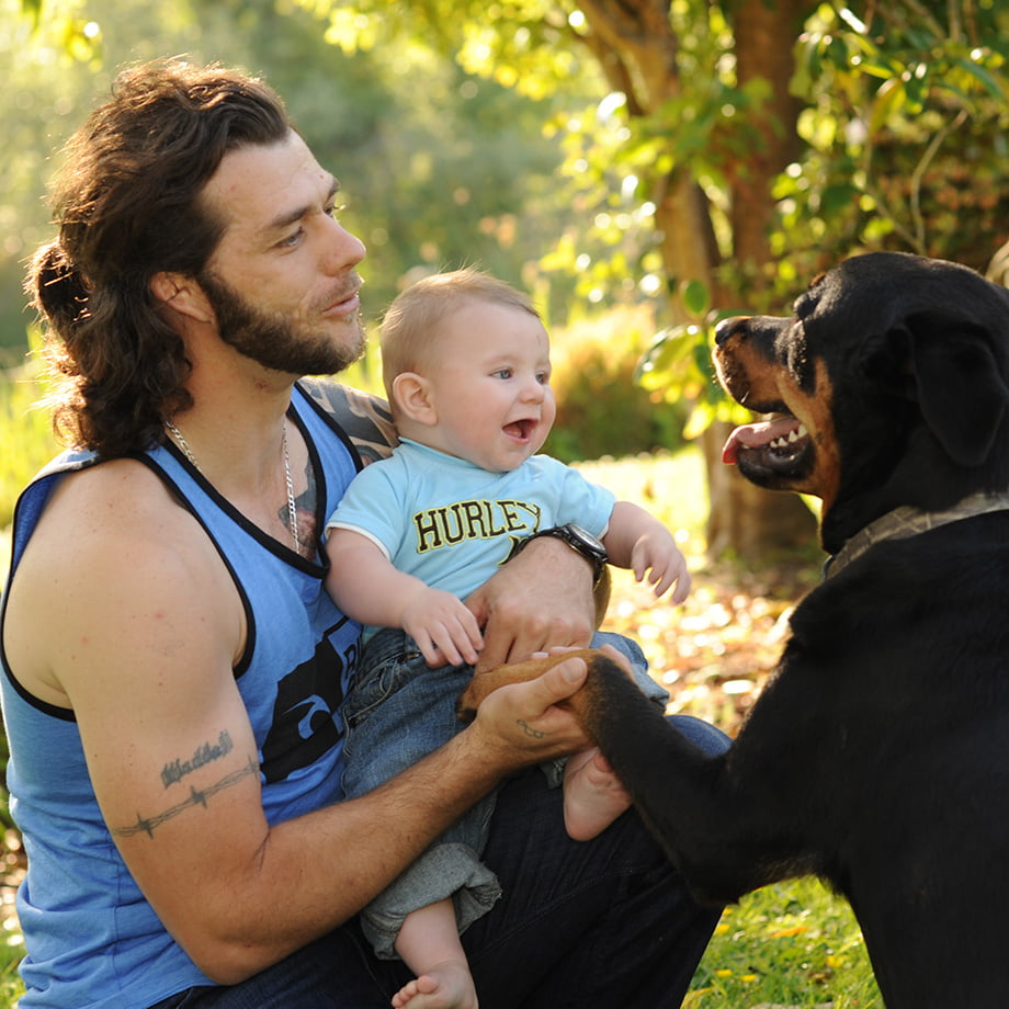 dad, baby and dog