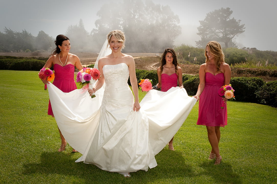 bride and bridesmaids, wedding photo by susan helgeson
