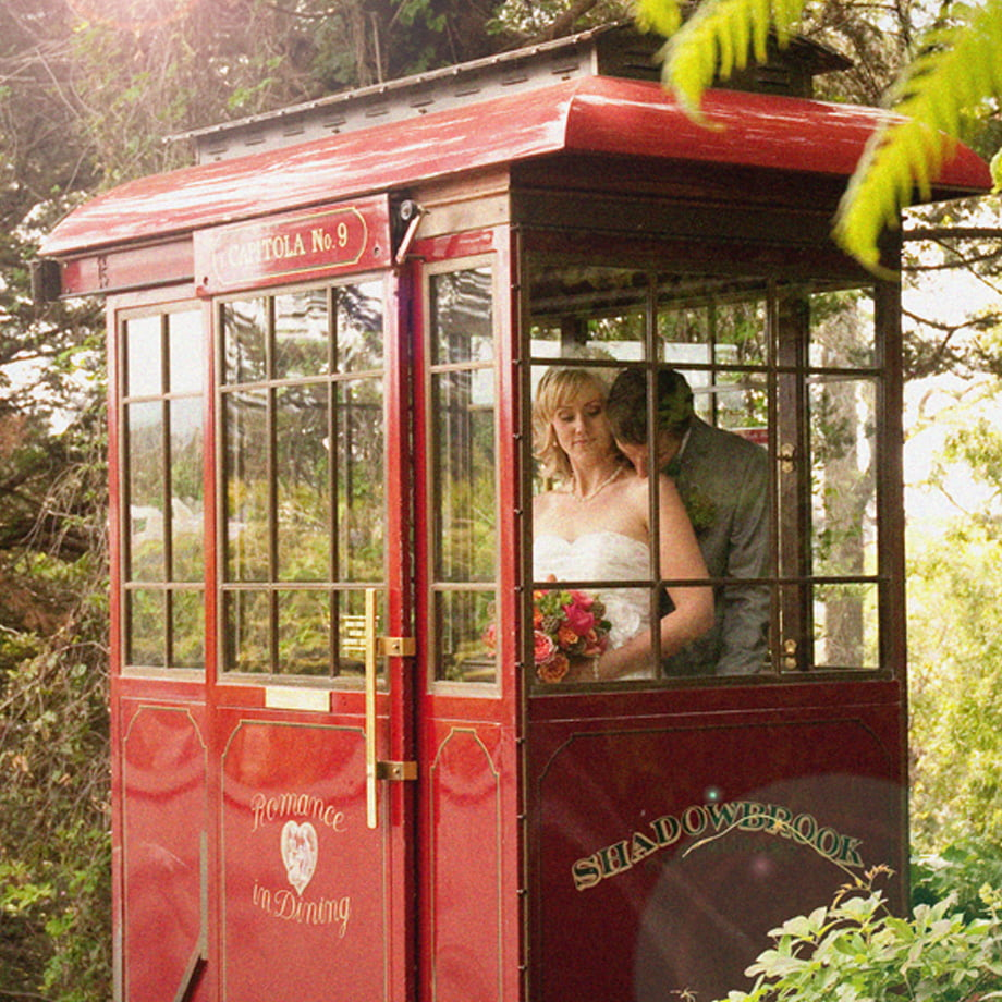 Shadowbrook cable car with bride and groom
