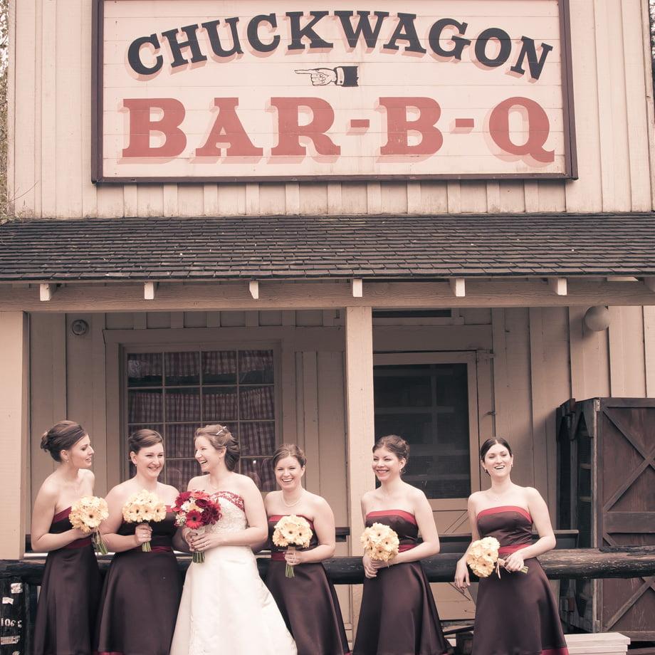Roaring Camp bride and bridesmaids