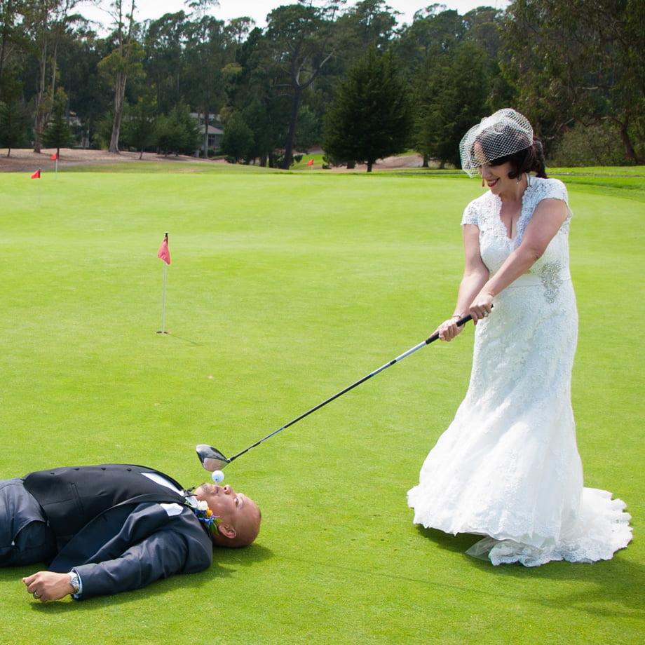 wedding couple tee time