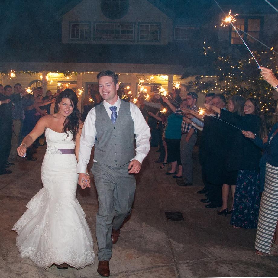 sparklers wedding walk