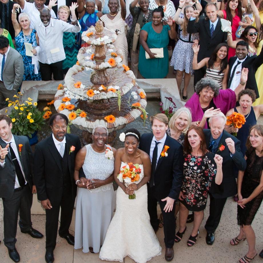 big wedding crowd