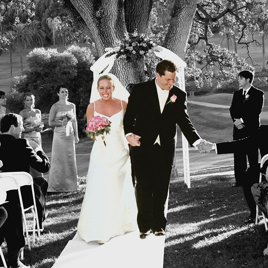 outdoor wedding in black and white