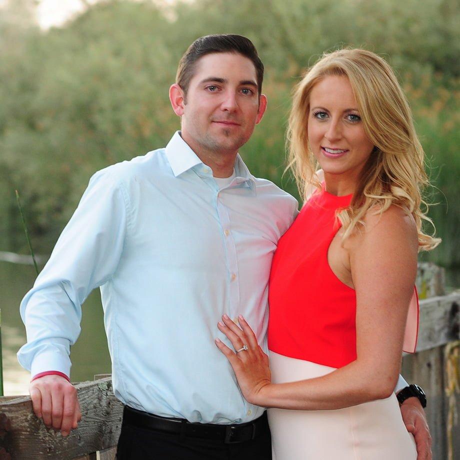 couple celebrating wedding enagement
