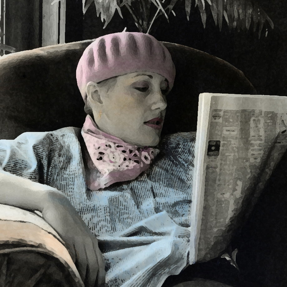 Woman in beret reading newspaper
