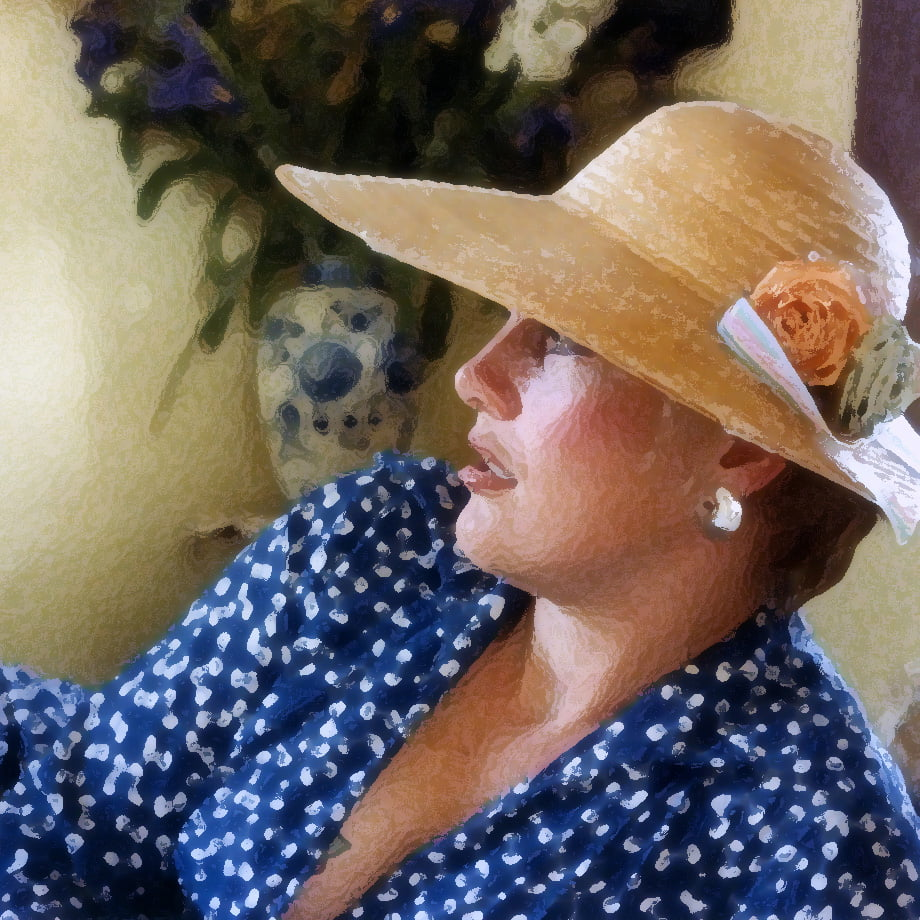 Woman with hat reclining