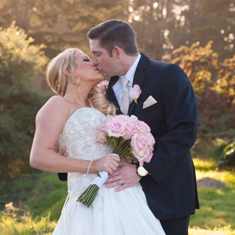 wedding kiss on a sunny day