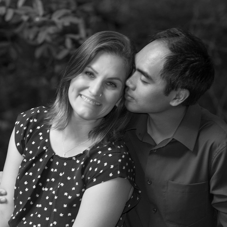 Black and white photo of a loving young couple