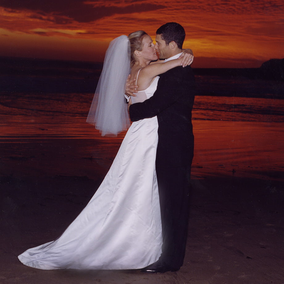 Sunset newly weds on the beach